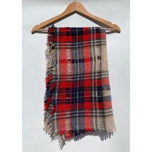 Madewell Distressed Wool Plaid Scarf OS